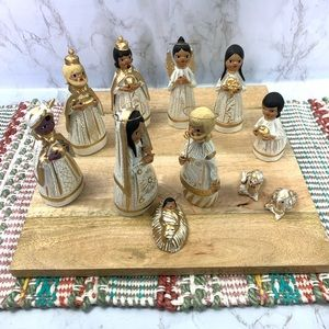 Nativity Set of 11 Hand Painted clay pottery gold